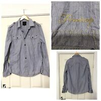 Firetrap Mens Shirt Long Sleeve Size Large L Purple Blue Stripes Great Cond C493