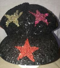 Womens Hat  Sequins Stars God Black Newsboy Cabbie All Over Bakers Gatsby Beret