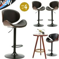 Set of 4 Bar Stools PU Leather Modern Hydraulic Swivel Dinning Chairs Black