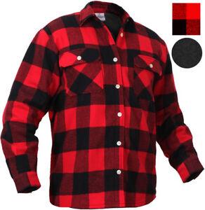 Red Plaid Flannel Shirt FLEECE Lined Extra Heavy Brawny Buffalo Check Lumberjack