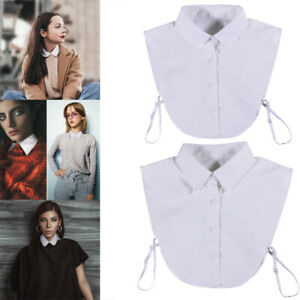 Women's Detachable False Collar Elegant Cotton Fake Dickey Blouse Half Shirt NEW