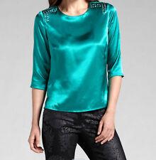 Entzückende Bluse aus glänzendem Material mit modischen Strasssteinchen* Gr.46