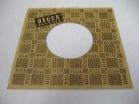 Company Sleeve 45 DECCA Brown w/ Black Writing and Stitching on