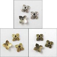 300Pcs Antiqued Silver,Gold,Bronze Tone Tiny-Leaf End Bead Caps 6mm