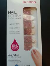 INCOCO Real Nail Polish strips ~ Love Potion ~ Pink Glitter over Clear