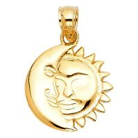 Bright Sun Polish Moon Face Solar Pendant 14k Yellow Solid Gold Charm Necklace