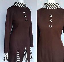 Vintage 60s 70s Mod Brown & White Op Art Striped Scooter Mini Dress M-L UK 14