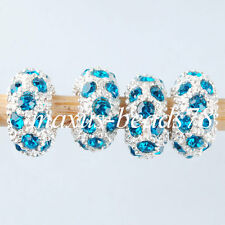 Big Hole Crystal Rhinestone Rondelle Spacer Beads European Charm 10pcs MA1448