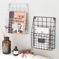 Wire Magazine Newspaper Basket Wall Mounted Post Storage Rack Organizer Office