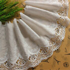 1 Yard Embroidered Lace Trim Arc Ribbon Vintage Wedding Dress Sewing Craft Decor
