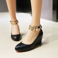 Womens Wedge High Heels Solid Ankle Strap Tassel Pumps Round Toe Party Shoes Sz