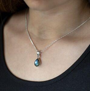 Labradorite Sterling Silver 925 Pear Gemstone Pendant Necklace Jewellery Ladies
