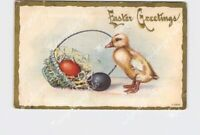 PPC POSTCARD EASTER GREETINGS DUCKLING WITH BASKET OF EGGS GOLD EMBOSSED