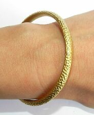 Designer Hammered Yellow Gold 24k Plated Bangle Bracelet Textured