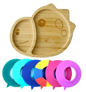 NEW - Dinosaur Shape Baby Suction Plate-Made of Planet Friendly Natural Bamboo