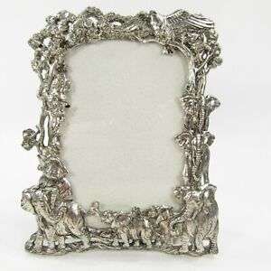 Arthur Court 1995 Jungle Animals Elephant Pewter Picture Photo Frame Tabletop