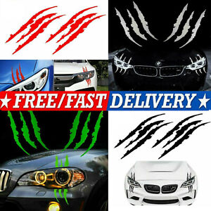 """15"""" Monster Claw Scratch Decal Car Headlight Decor Vinyl Sticker For Ford Dodge"""