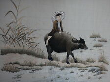 Superbe broderie soie Chine buffle 62cm Old chinese buffalo embroidery silk XIX