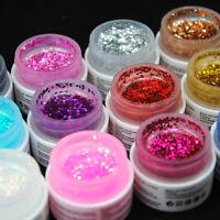 COS 12 Color Big Glitter Shimmer UV Builder Gel Nail Art Deco Set Tips Polish UK
