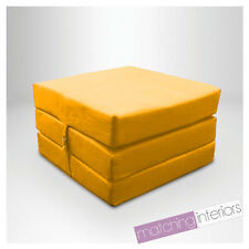 Yellow Splashproof Wipe Clean Fold Out Cube Mattress Guest Z Bed Chair Bed Futon