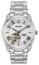 Bulova Men's Wilton Automatic Open Heart Window Silver Tone 42mm Watch 96A207