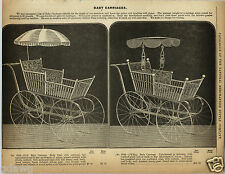 1892 PAPER AD 5 PG Early Vintage Rattan & Reed Baby Carriage Buggy Twin Umbrella