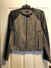 NWT Dana Buchman Leather Trim Jacket Size 10