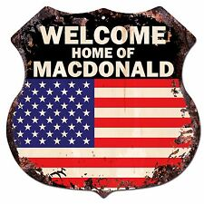 BPWU-0685 WELCOME HOME OF MACDONALD Family Name Shield Chic Sign Home Decor