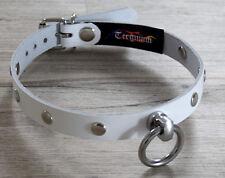 Terginum BDSM Leder Halsband O Ring HANDARBEIT Nietenhalsband Fetisch weiß neu