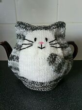 Hand knitted New grey stripe cat cosy for large 2 pint pot