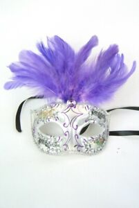Masquerade Mask Mardi Gras Venetian style Adults Party Dress Up Silver & Purple