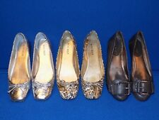 LOT 5 M Nine West Brown Leopard Print Loredana Womens Ballet Flats Shoes Silver