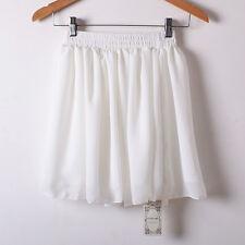 Womens Girl Chiffon Pleated Flared Elastic Waist 2 Layer Mini Skirt Short Dress