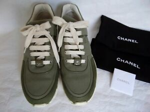 CHANEL SNEAKERS SHOES CC LOGO Leather Khaki Olive Green Canvas Fabric Size 41