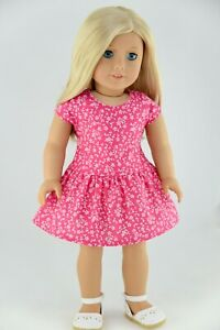 Magenta Dress White Flowers American Made Doll Clothes For 18 Inch Girl Dolls