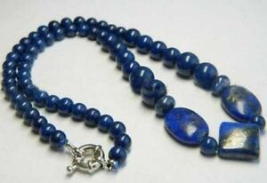 "Real Natural Blue Egyptian Lapis Lazuli Round Gemstone Square Beads Necklace 18"""