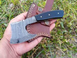 Hunting Nest Handmade Damascus steel hunting MINI AXE knife BULL HORNhandle 1153