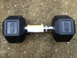 SINGLE 20LB RUBBER COATED HEX DUMBBELL WEIGHT 20 POUND LB FREE SHIPPING