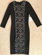 VENUS BLACK LACE FITTED MIDI SHEATH DRESS NWT! 2 34