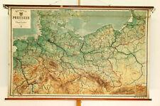 Schulwandkarte Wandkarte Königreich Preussen 205x132cm ~1910 vintage roll up
