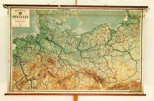 Wandkarte Königreich Preussen von Wilhelm II 205x132cm~1910 vintage roll up down