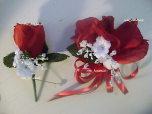 Purple~Navy~Red~Ivory~Maroon~or~White~Open Rose Corsage~Boutonniere~wedding~Prom