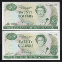 New Zealand  P-173a. (1981-85) $20 - Hardie Type-11. 1st Prefix TAA. CONSEC Pair