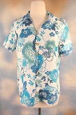 NEW HOT COTTON 100% Linen mother of pearl button blouse blue floral shirt S