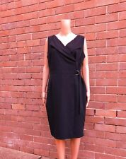 DOROTHY PERKINS ~ 16 ~ Chic Black D-Ring Belted Sleeveless Wrap Dress $119.95