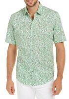 Alfani Mens Shirt Green Large L Leaping Lizard Stretch Woven Button Down $55 326