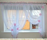 4 COLOURS READY MADE WHITE VOILE NET CURTAINS WITH FLOWERS LACE AMAZING FOR YOU
