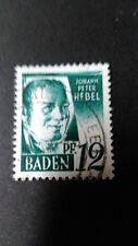 FRANCE 1947 OCCUPATION ALLEMAGNE BADE, timbre 4 HEBEL oblitéré, VF STAMP