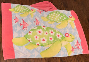 Fish and Turtles Hooded Beach Towel Pottery Barn Kids Pink Green Cotton
