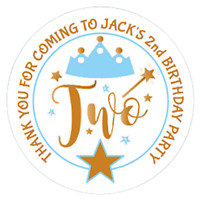 48 Personalised Party Bag Stickers 2nd Birthday Sweet Bag Seals 40mm Labels